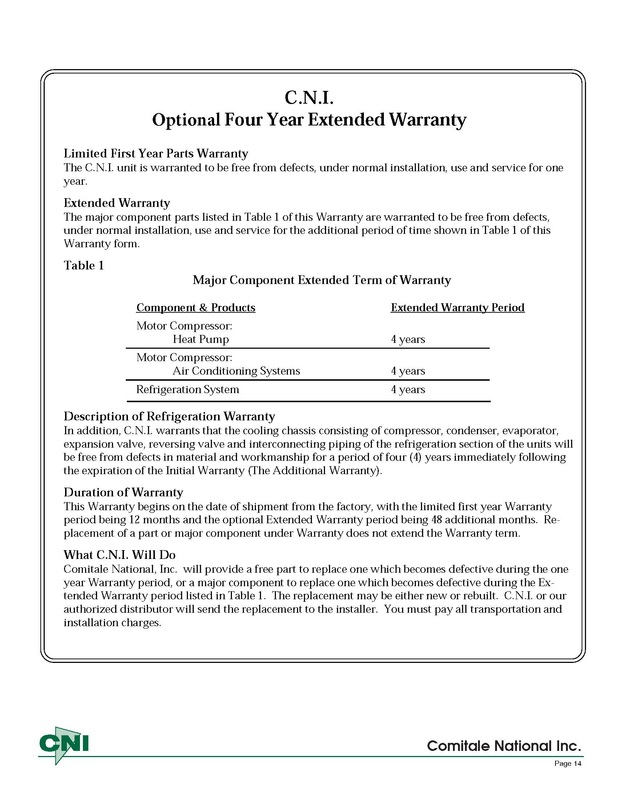 Four Year Extended Warranty CNI